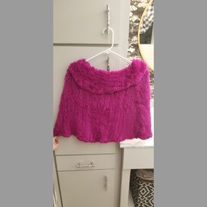 Bright pink, fur Cape, one size fits all